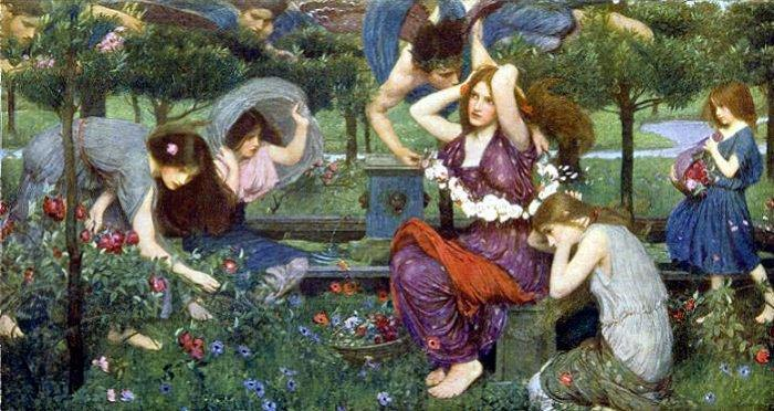 Flora e Zephyrs, olio su tela di John William Waterhouse (1849-1917, Italy)