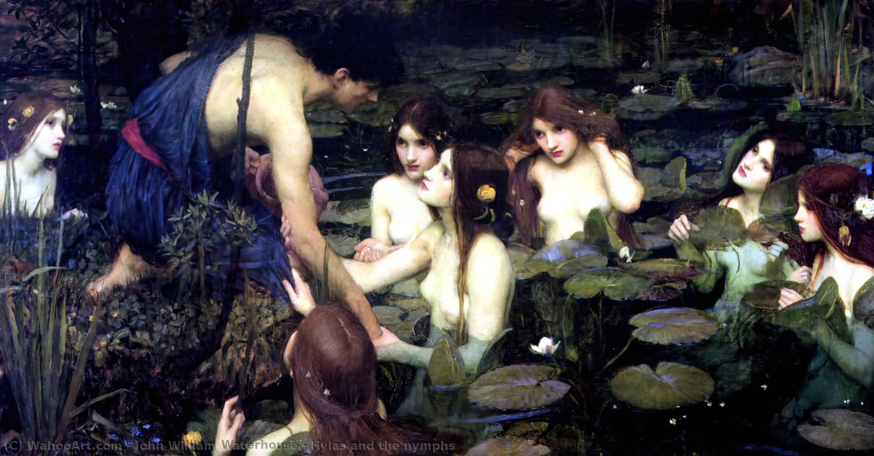 Hylas e le ninfe, olio di John William Waterhouse (1849-1917, Italy)