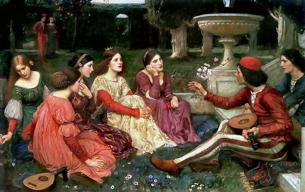 racconto dal decameron, 1916 di John William Waterhouse (1849-1917, Italy) | Riproduzioni Di Quadri John William Waterhouse | WahooArt.com