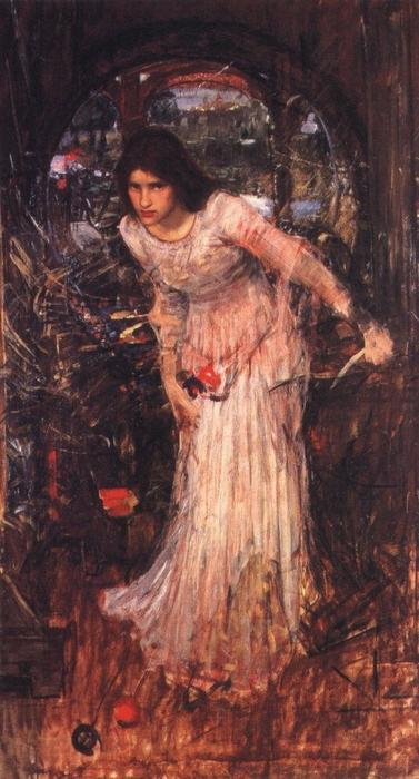 La Signora di Shalott studio, olio di John William Waterhouse (1849-1917, Italy)
