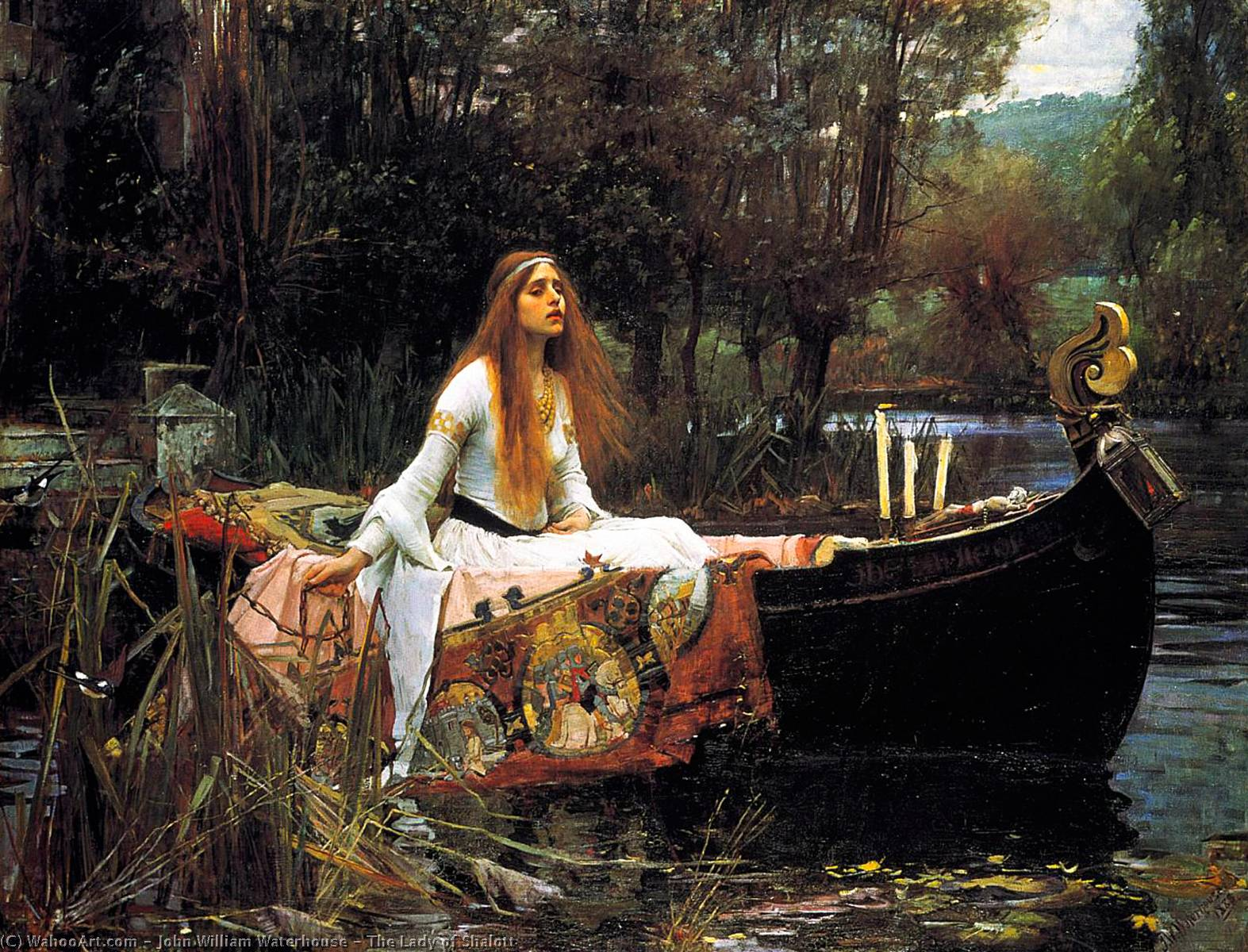 La Signora di Shalott, olio di John William Waterhouse (1849-1917, Italy)