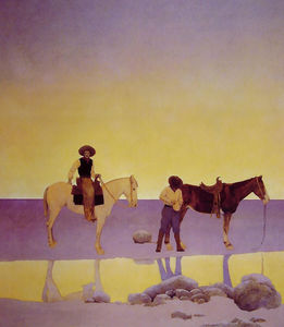 Maxfield Parrish - Cowboys- hot springs , L-arizona
