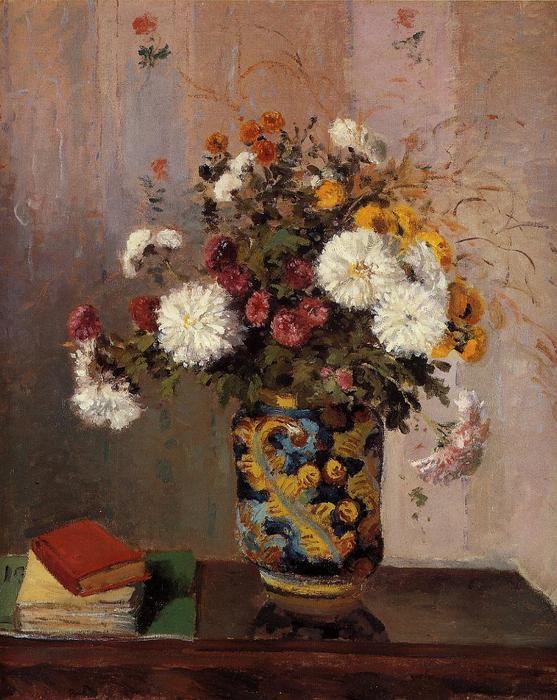 Bouquet di fiori crisantemi come un in cina vaso olio di - Crisantemi in vaso ...