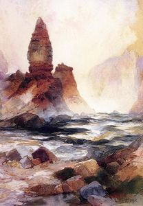 Thomas Moran - torre falls e zolfo rock , Yellowstone