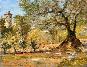 William Merritt Chase - oliva alberi Firenze