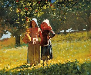 Winslow Homer - picking apple ( aka due ragazze in sunbonnets o in orchard )