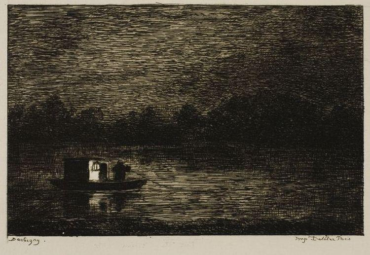 Notte Voyage Antartico  canna  netto , olio di Charles François Daubigny (1817-1878, France)
