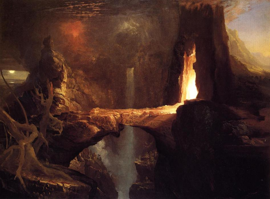 Espulsione . luna e firelight, olio su tela di Thomas Cole (1801-1848, United Kingdom)