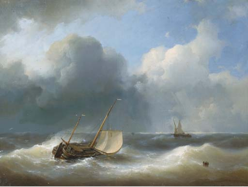 Un Lugger In Heavy Seas, olio di Abraham Hulk Senior (1813-1897, Netherlands)