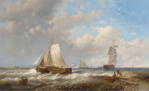 Un Breeze Onshore Off The Coast olandesi, olio di Abraham Hulk Senior (1813-1897, Netherlands)