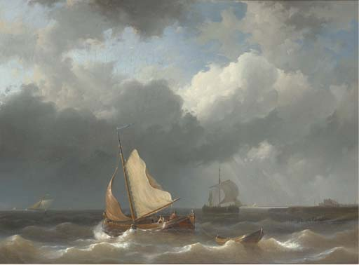 I pescatori di impostazione Sail Off The Harbour Mouth, olio di Abraham Hulk Senior (1813-1897, Netherlands)
