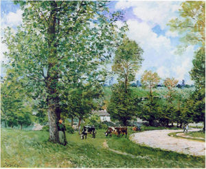 Alfred Sisley - cow pasture vicino louveciennes