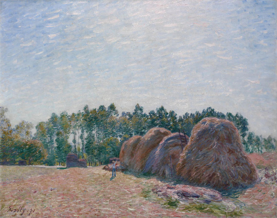 Mucchi di fieno a Moret Morning Light, olio su tela di Alfred Sisley (1839-1899, France)