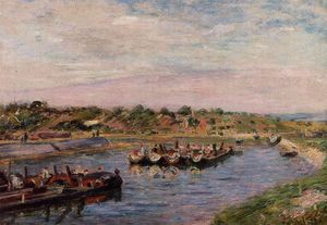 Alfred Sisley - Chiatte Idle sul canale Loing presso Saint-Mammes