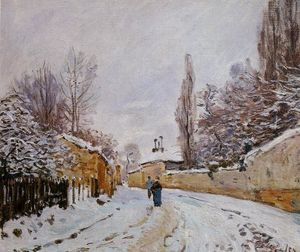 Alfred Sisley - strada sotto neve , Louveciennes
