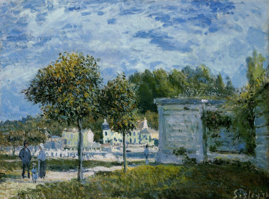 Il Watering Place a Marly, olio su tela di Alfred Sisley (1839-1899, France)