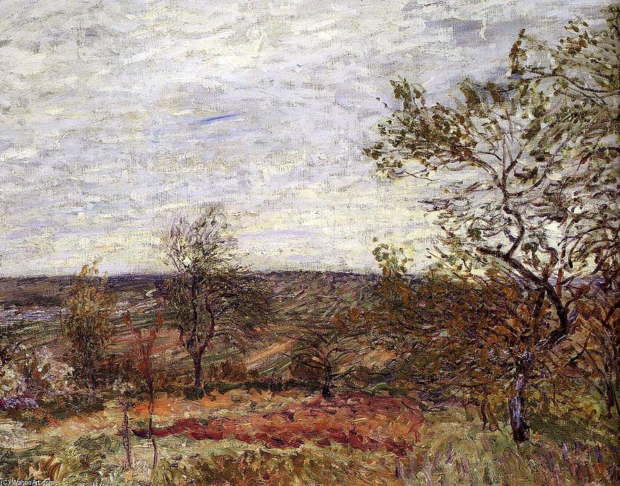 Windy Day At Veneux, olio su tela di Alfred Sisley (1839-1899, France)