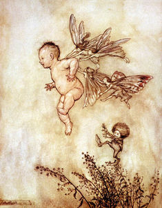 Arthur Rackham - Le fate insegnano Peter to Fly
