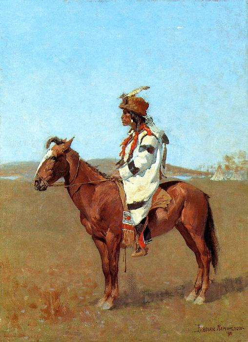 A capo Blackfoot, olio di Frederic Remington (1861-1909, United States)