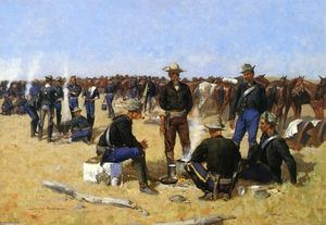 Frederic Remington - Un Cavalryman's Breakfast on i Plains
