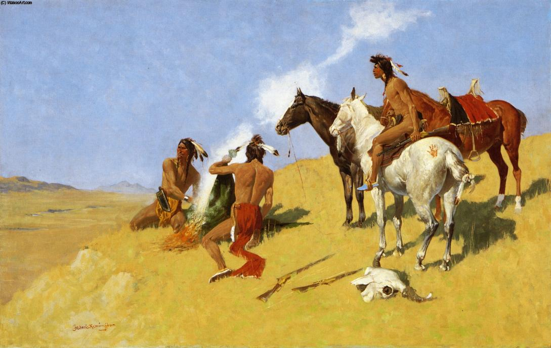 The Smoke Signal, 1908 di Frederic Remington (1861-1909, United States) | Riproduzioni Di Belle Arti Frederic Remington | WahooArt.com