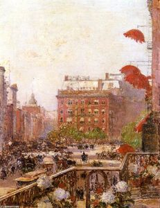 Frederick Childe Hassam - Vista di Broadway e la Fifth Avenue