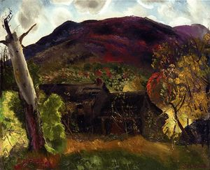 George Wesley Bellows - Blasted Albero e casa deserta