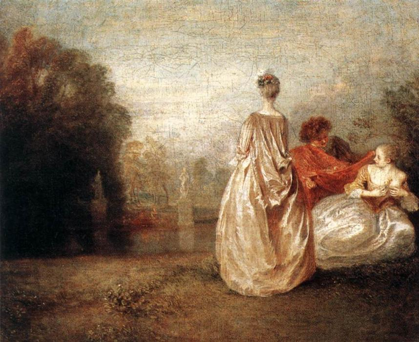 Two Cousins, olio di Jean Antoine Watteau (1684-1721, France)