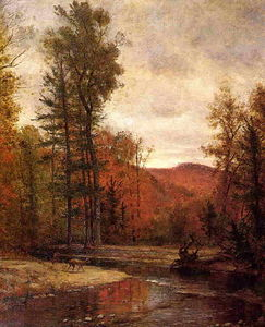Thomas Worthington Whittredge - Adirondack Woodland con due cervi