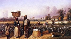 William Aiken Walker - negro` i lavoratori in di cotone campo con cane