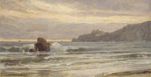 William Trost Richards - Costa Rocciosa tuttal più  Tramonto