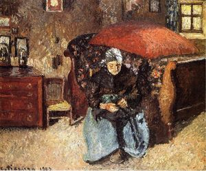Camille Pissarro - Donna anziana Mending Old Clothes, Moret