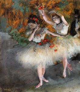 Edgar Degas - due ballerini `entering` il fase