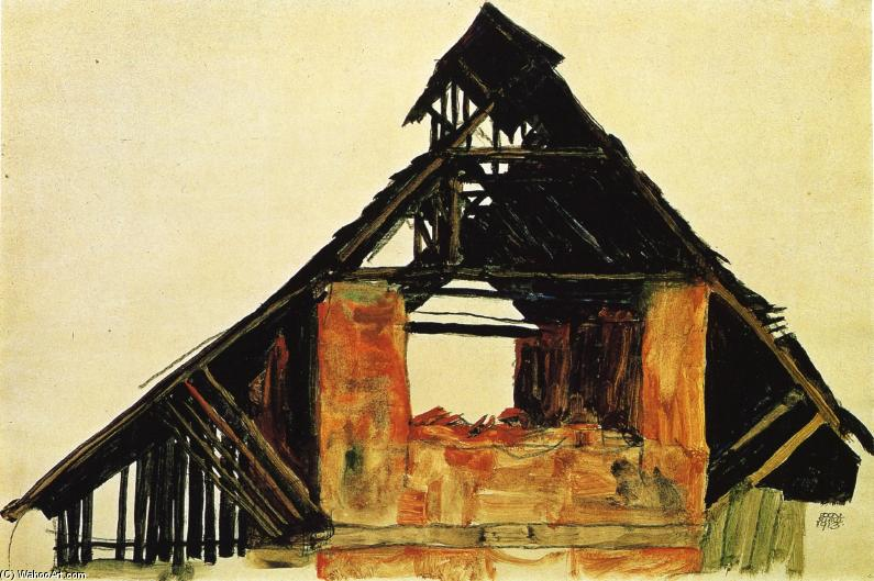 Old brick house in carinzia acquerello di egon schiele for Egon schiele tutte le opere