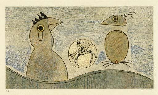 Deux Oiseaux, olio di Max Ernst (1891-1976, Germany)