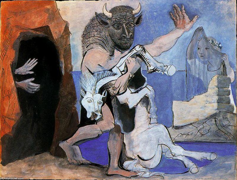 L'arte Cretese PABLO-PICASSO-MINOTAURO-Y-YEGUA-MUERTA-DELANTE-DE-UNA-GRUTA-Y-NI%C3%91A-CON-VELO