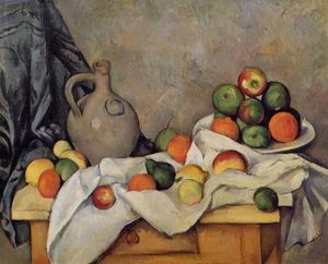 Paul Cezanne - Tenda, Brocca e frutta
