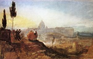 William Turner - Roma . Cattedrale di st . Peter's dal villa barberini