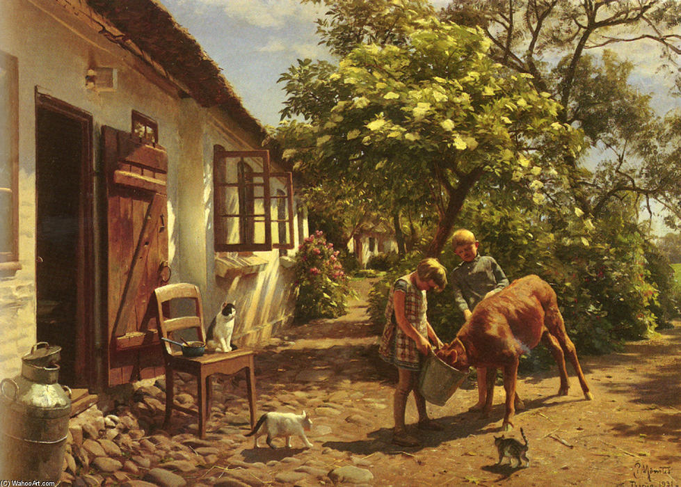 Feeding The Calf, olio di Peder Mork Monsted (1859-1941, Denmark)