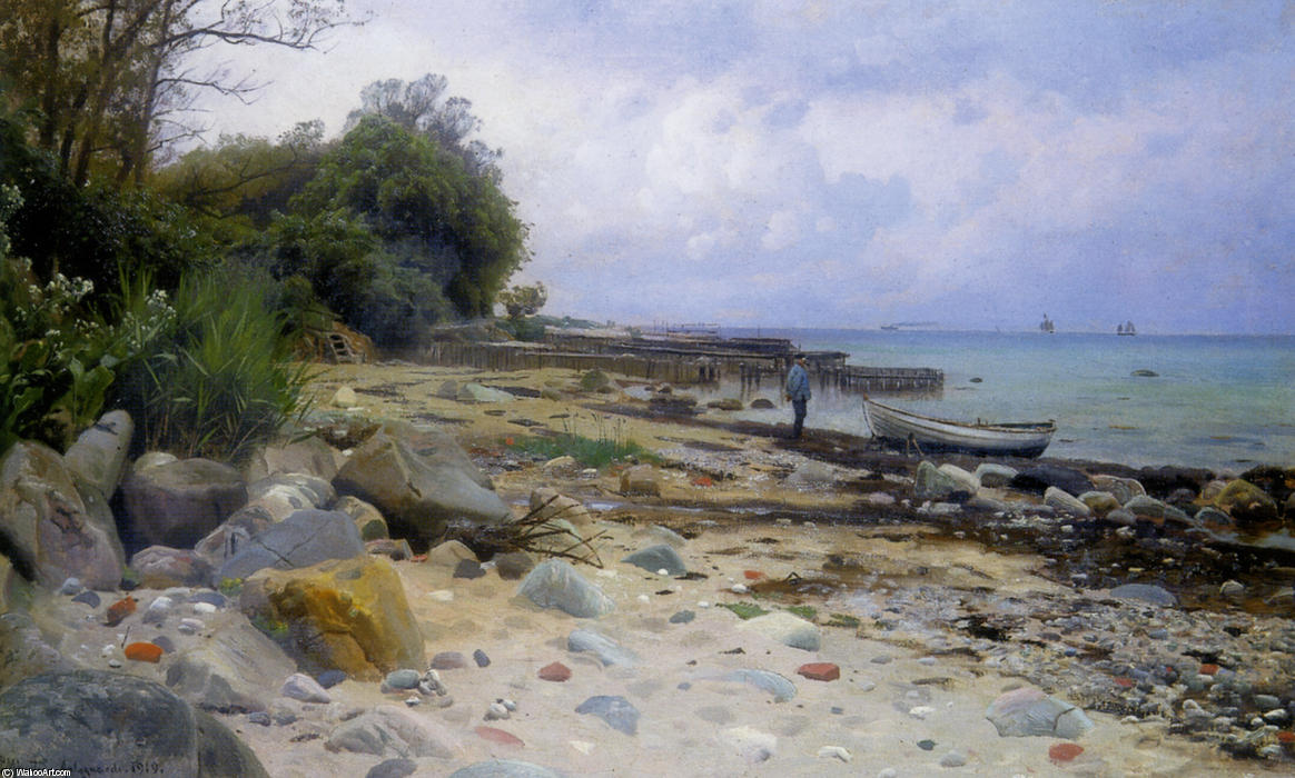 Che guarda al mare, olio di Peder Mork Monsted (1859-1941, Denmark)