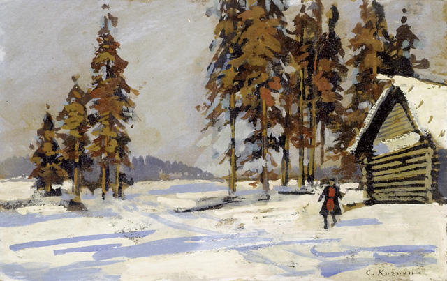 Paesaggio invernale da disegno di konstantin alekseyevich for Paesaggio invernale disegno