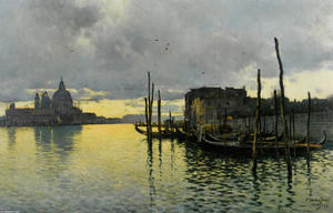 Emilio Sanchez-Perrier - Evening_Looking_Towards_the_Grand_Canal_with_Santa_Maria_Della_Salute_in_the_Distance