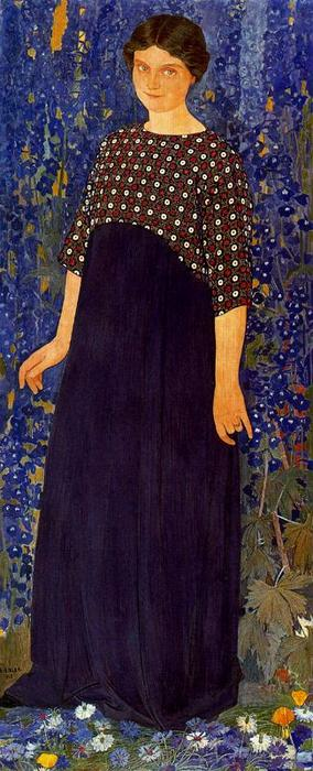 donna in blu . ritratto di andre michelle di Ernest Bieler (1863-1948, Switzerland)