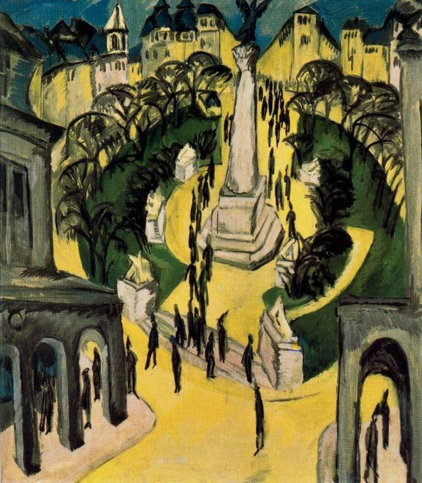 Belle-Alliance Platz , Berlino di Ernst Ludwig Kirchner (1880-1938, Germany) | WahooArt.com