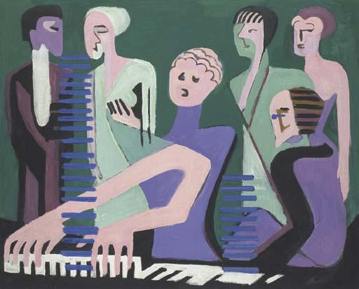 Cantatrice au piano o Pianistin di Ernst Ludwig Kirchner (1880-1938, Germany)