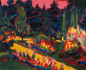 Ernst Ludwig Kirchner - flowerbeds` nel parco in dresda