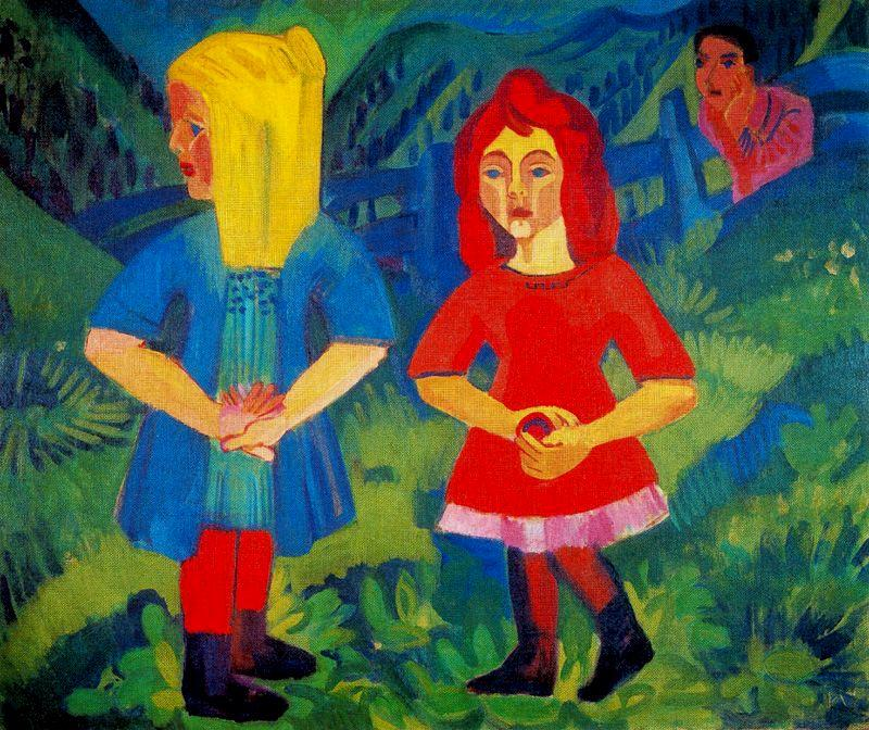 ragazze sul montagna di Ernst Ludwig Kirchner (1880-1938, Germany)