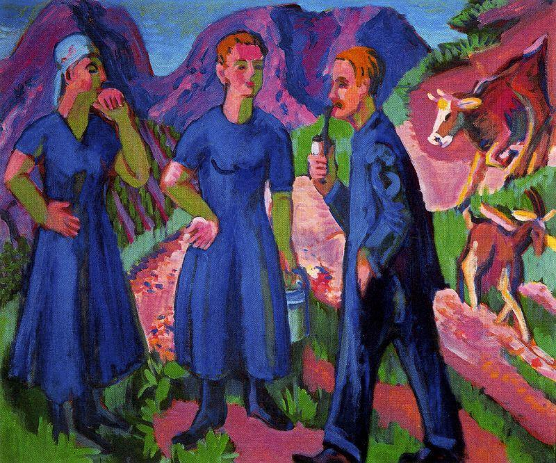 tre agricoltori di Ernst Ludwig Kirchner (1880-1938, Germany) | WahooArt.com