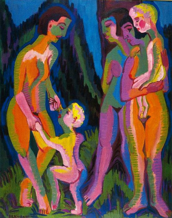 tre nudo donne con bambini di Ernst Ludwig Kirchner (1880-1938, Germany)
