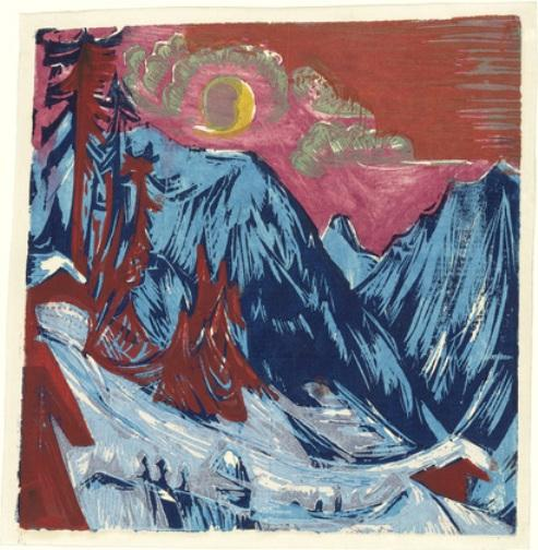 Inverno Moonlit Night di Ernst Ludwig Kirchner (1880-1938, Germany)
